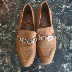 H&M Brown Suede Pointed Toe Loafers Sz 39/8